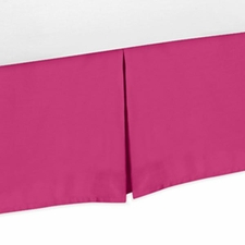 Chevron Pink and White - Solid Pink Bed Skirt