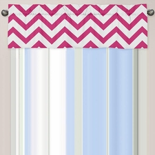 Chevron Pink and White Window Valance