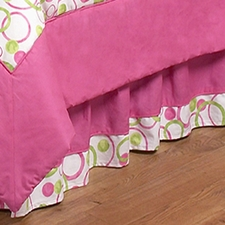 Circles Pink Full/Queen Bed Skirt