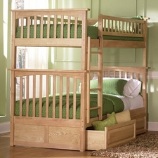 Columbia Twin/Twin Bunk Bed in Natural with 2-Drawers in Natural