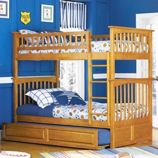 Columbia Twin/Twin Bunk Bed in with Trundle in Caramel Latte