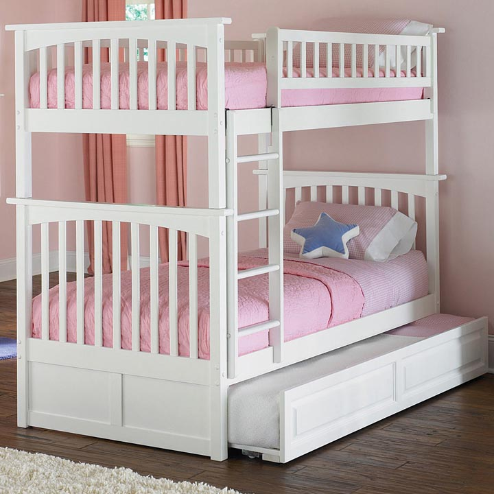 White Twin Bunk Bed with Trundle 720 x 720