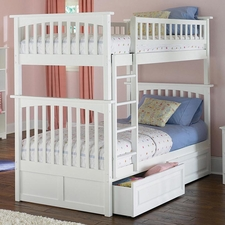 Columbia Twin/Twin Bunk Bed with 2-Drawers in White