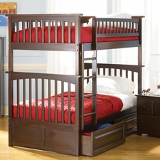Columbia Twin/Twin Bunk Bed with 2-Drawers in Antique Walnut