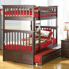 Columbia Twin/Twin Bunk Bed with Trundle in Antique Walnut