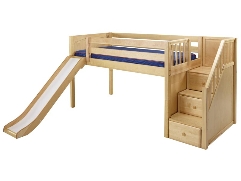 Maxtrix Twin Low Loft Bed with Slide and Staircase on End - Loft Beds