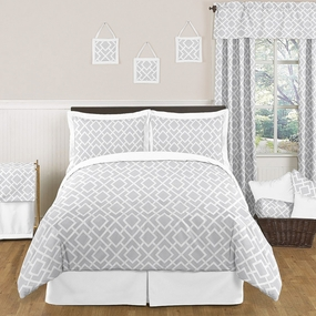 Diamond Gray and White Kids Bedding Collection