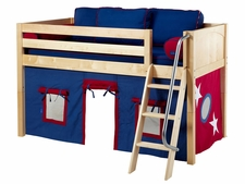 Easy Rider 21 Twin Low Loft with Angled Ladder & Blue/Red Curtain