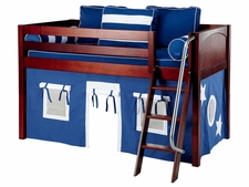 Easy Rider 22 Twin Low Loft with Angled Ladder & Blue/White Curtain