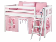 Easy Rider 23 Twin Low Loft with Angled Ladder & Pink/White Curtain