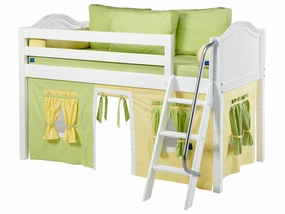 Easy Rider 24 Twin Low Loft with Angled Ladder & Green/Yellow Curtain