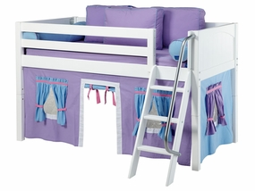 Easy Rider 27 Twin Low Loft with Angled Ladder, Purple/Lt Blue Curtain