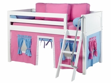 Easy Rider 28 Twin Low Loft, Angled Ladder, Hot Pink/Lt Blue Curtain