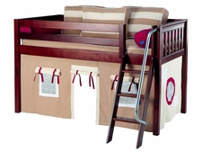 Easy Rider 30 Twin Low Loft with Angled Ladder & Khaki Curtain