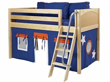 Easy Rider 42 Twin Low Loft with Angled Ladder & Blue/Orange Curtain