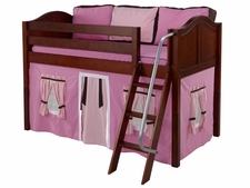Easy Rider 73 Twin Low Loft with Angled Ladder & Pink/Brown Curtain
