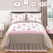 Elephant Pink Kids Comforter Set
