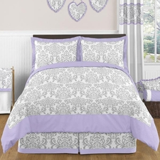 Elizabeth Lavender and Gray Comforter Set