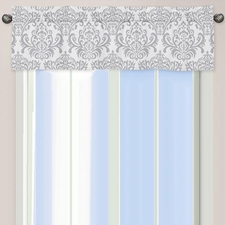 Elizabeth Gray and White Damask Window Valance