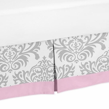 Elizabeth Pink and Gray Full/Queen Bed Skirt