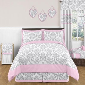 Elizabeth Pink and Gray Kids Bedding Collection