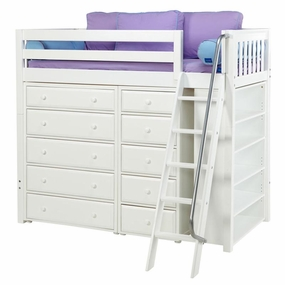 Emperor 2 Twin High Storage Loft with Angled Ladder