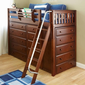 Emperor Twin High Loft Storage Bed with Angled Ladder
