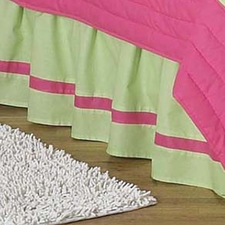 Flower Pink & Green Full/Queen Bed Skirt