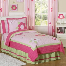 Flower Pink & Green Comforter Set