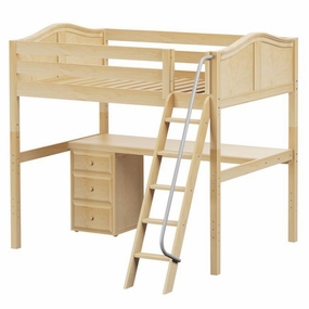 Giant 2 Full High Loft Bed with Angled Ladder, Desk and Drawers