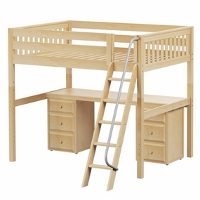 Giant 3 Full High Loft Bed with Angled Ladder, Desk and Drawers