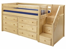 Great 3 Low Loft Storage Bed with Stairs