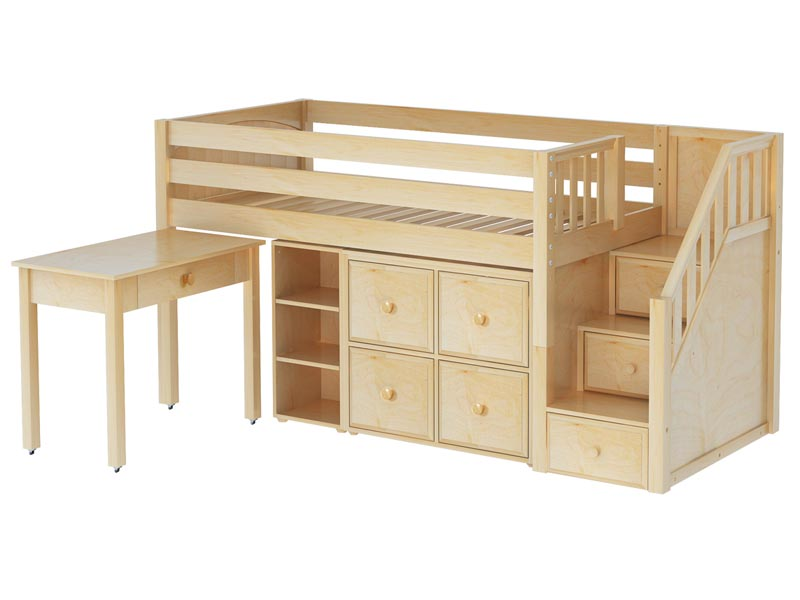 ... Loft Bed with Desk, Bookcase and Stairs - Twin Size Low Loft Beds