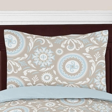 Hayden Blue and Taupe Standard Size Pillow Sham