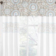 Hayden Blue and Taupe Window Valance
