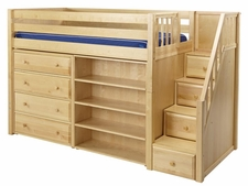 Galant Mid-Height Loft Bed with Stairs, Chest & Bookcase