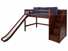 Hero Mid-Height Loft Bed with Slide and Staircase on End