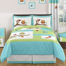 Hooty Turquoise and Lime Kids Comforter Set