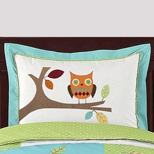 Hooty Turquoise and Lime Standard Size Pillow Sham
