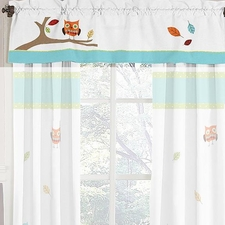 Hooty Turquoise and Lime Window Valance