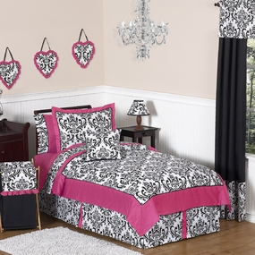 Isabella Hot Pink, Black & White Kids Bedding Collection