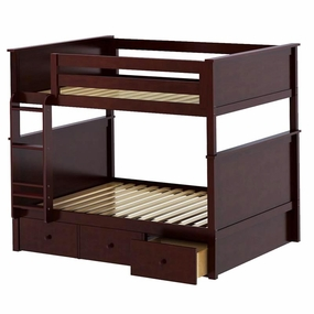 Jackpot Full/Full Panel Bunk Bed with Drawers in Cherry
