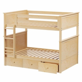 Jackpot Full/Full Panel Bunk Bed with Drawers in Natural