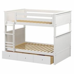 Jackpot Full/Full Panel Bunk Bed with Trundle in White