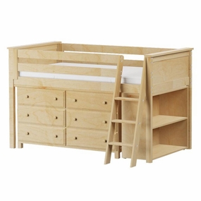 Jackpot Low Loft Storage Bed with Dresser & Bookcase in Natural
