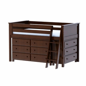 Jackpot Low Loft Storage Bed with Dressers in Cherry
