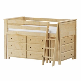 Jackpot Low Loft Storage Bed with Dressers in Natural