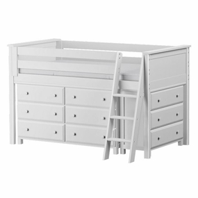 Jackpot Low Loft Storage Bed with Dressers in White