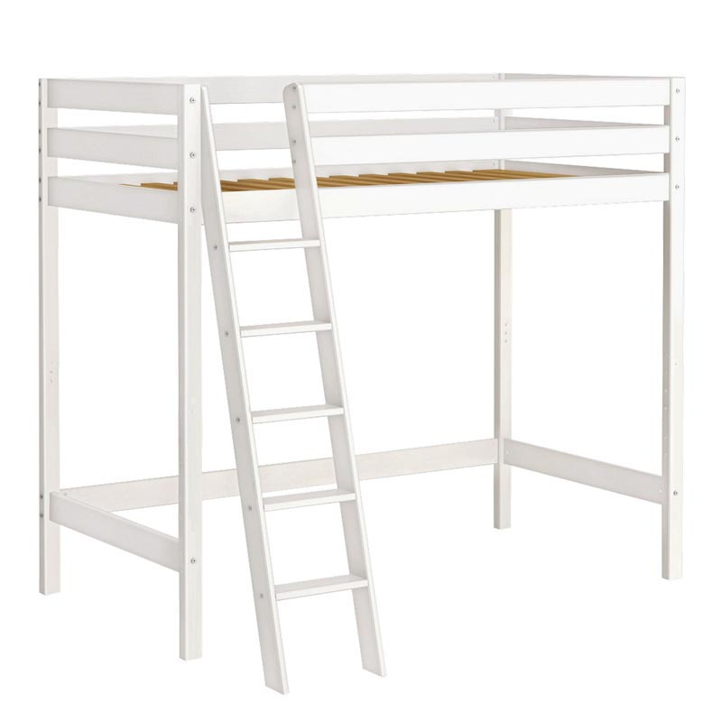 White Wood Twin Loft Bed With Desk