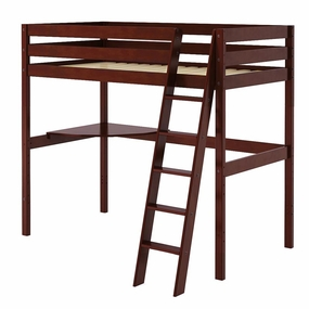 Jackpot Twin High Loft Bed with Corner Desk in Cherry